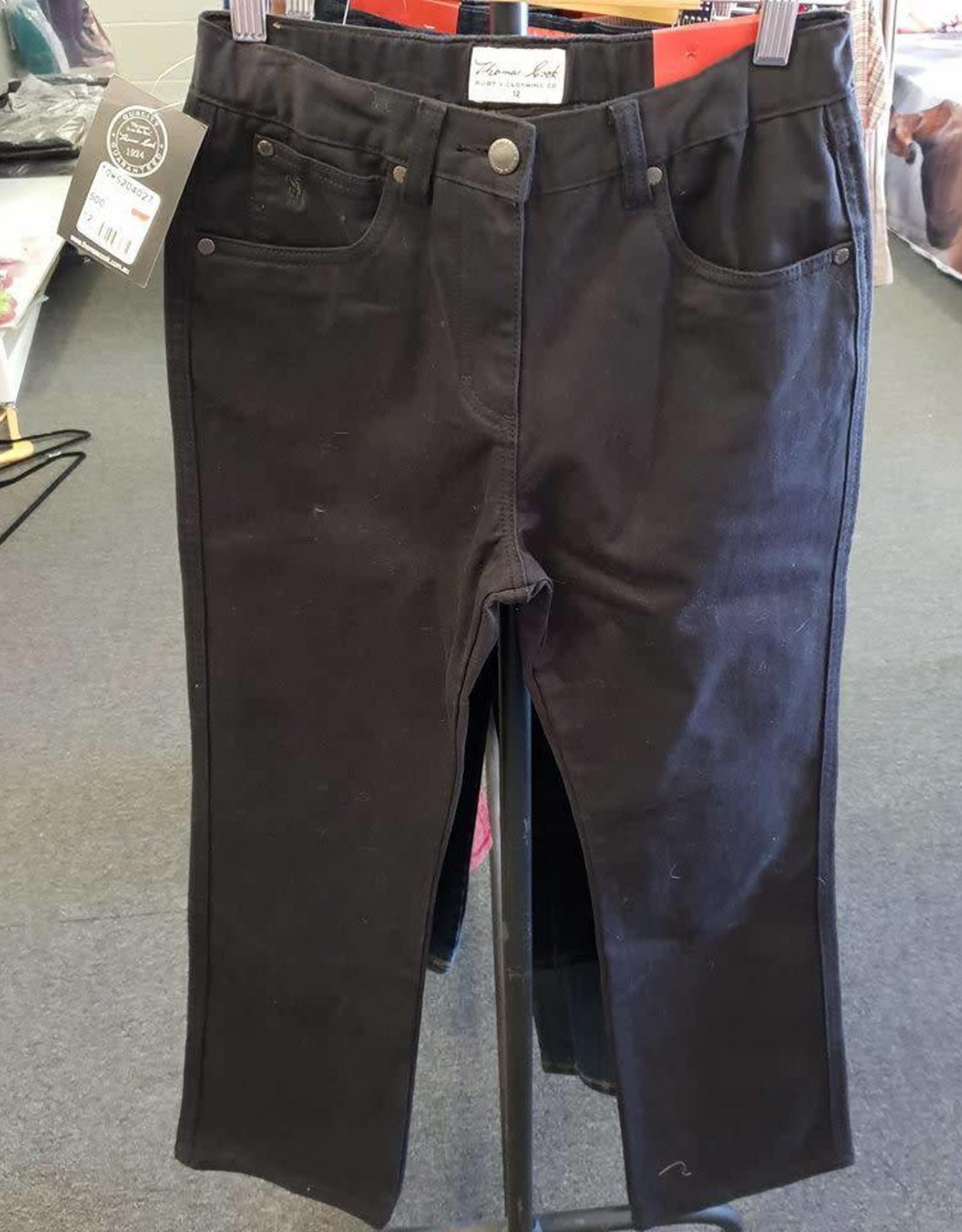 Thomas Cook Thomas Cook Girl's Straight Moleskin Bootleg - Black Jean - Size 14