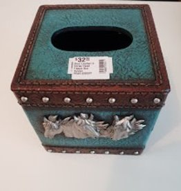 Pure Western Pure Western Blue Leather 3 Horse Head Tissue Box Holder