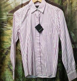 Zeus & Helios 100% Egyptian Cotton Striped Long Sleeve Shirt - White/Purple - Size 8