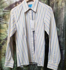 Windsor Apparel Long Sleeve Show Shirt - Blue/White/Gold Striped - Size 14