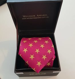 Windsor Apparel Tie Child's - Hot Pink with Gold Stars