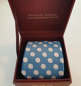 Windsor Apparel Tie Ladies Polka Dot - Lagoon and Silver