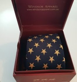 Windsor Apparel Tie Ladies - Navy with Gold Stars