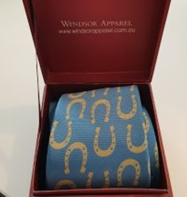 Windsor Apparel Tie Ladies - Lagoon and Gold Horse Shoes