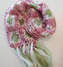 Scarf Pink & Green Flower Squares