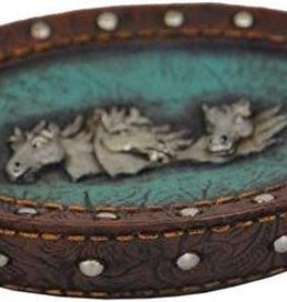 Pure Western Pure Western Blue Leather 3 Horsehead Soap Holder