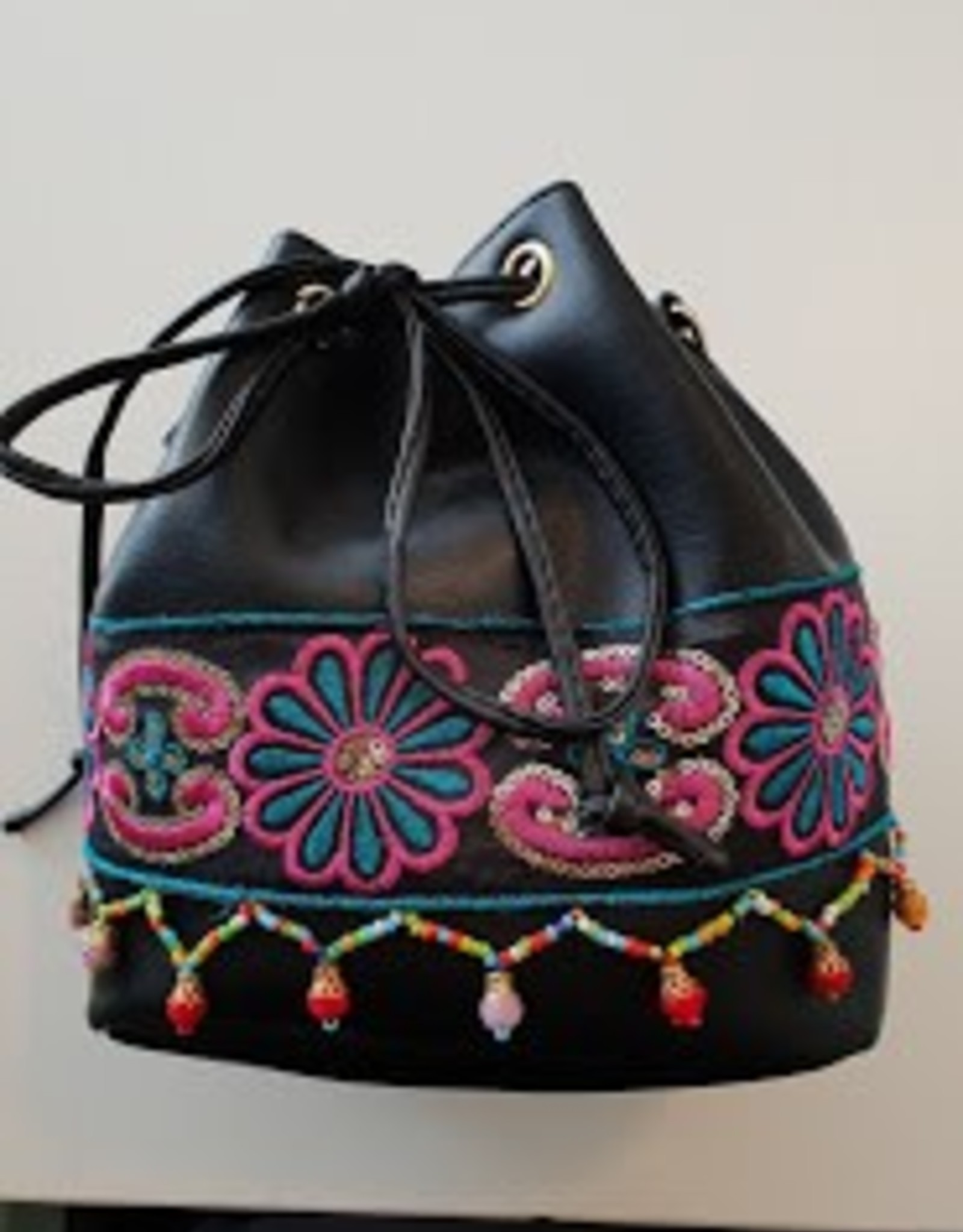 Ivys Shoulder Bag with Embroidery & Beaded Tassles Black Pouch