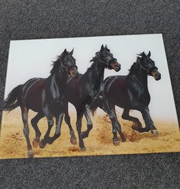 Glass Wall Hanging - 3 Black Horses Running Oblong 40x30cm