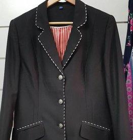 Gidyup Girl Karen Dressage Jacket - Black with Black/White Piping - XL