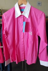 Windsor Ladies Parade Long Sleeve Shirt - Pink with White Contrasting Collar and Cuff - Size 14