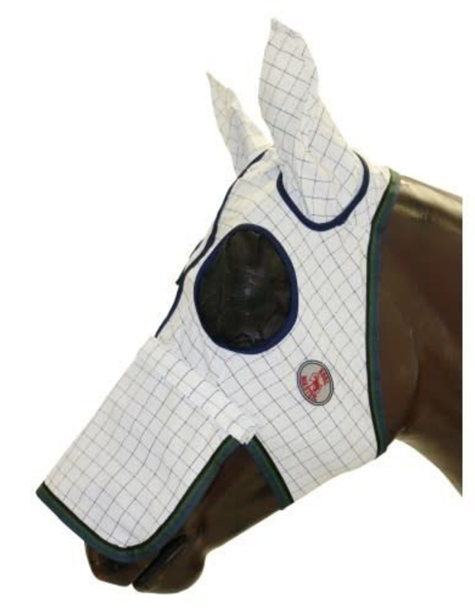 Kool Master Fly Mask With Ears - White with Green Check - Pony