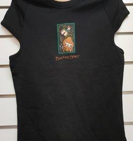 Spirit Bucking Spirit Unisex Cotton-T - Black - Size 12-14