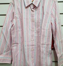 Thomas Cook Thomas Cook Womens Faye Stripe 3/4 Sleeve Shirt - Pink/Sky/Purple - Size 12