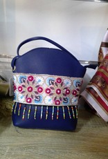 Shoulder Bag Blue with Embroidery & Tassles