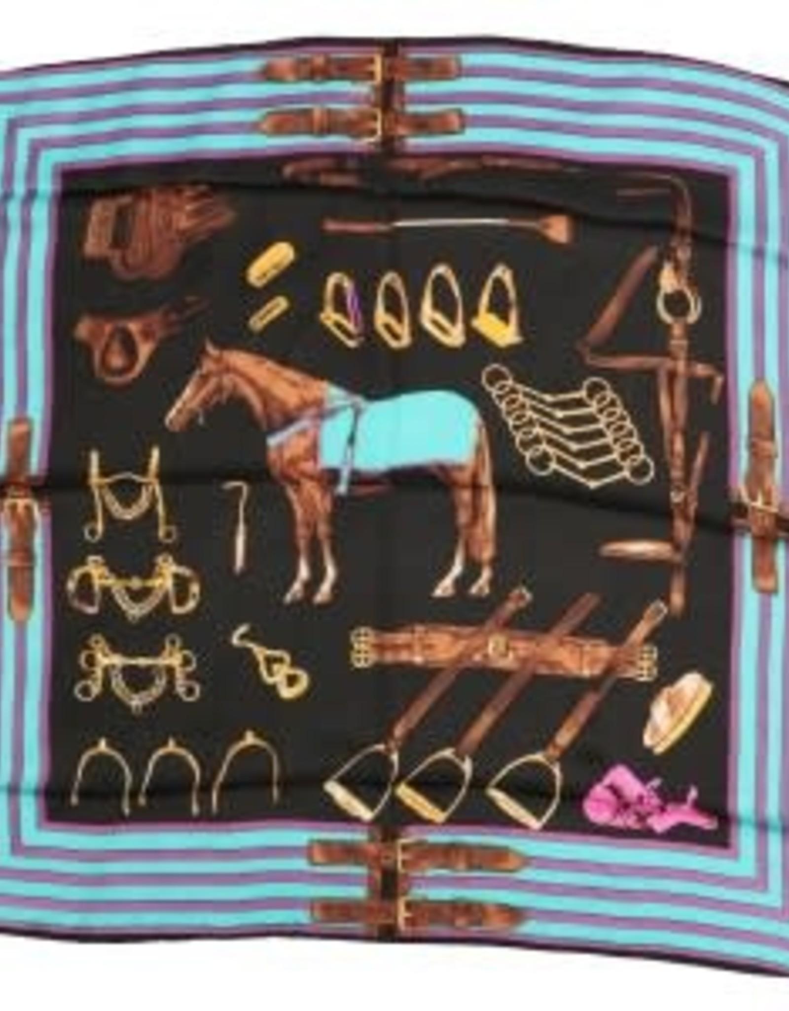 Square 100% Silk Horse Design - Black/Turquoise/Pink