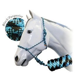 Fort Worth Rope Halter with 10' Lead - Black/Turquoise