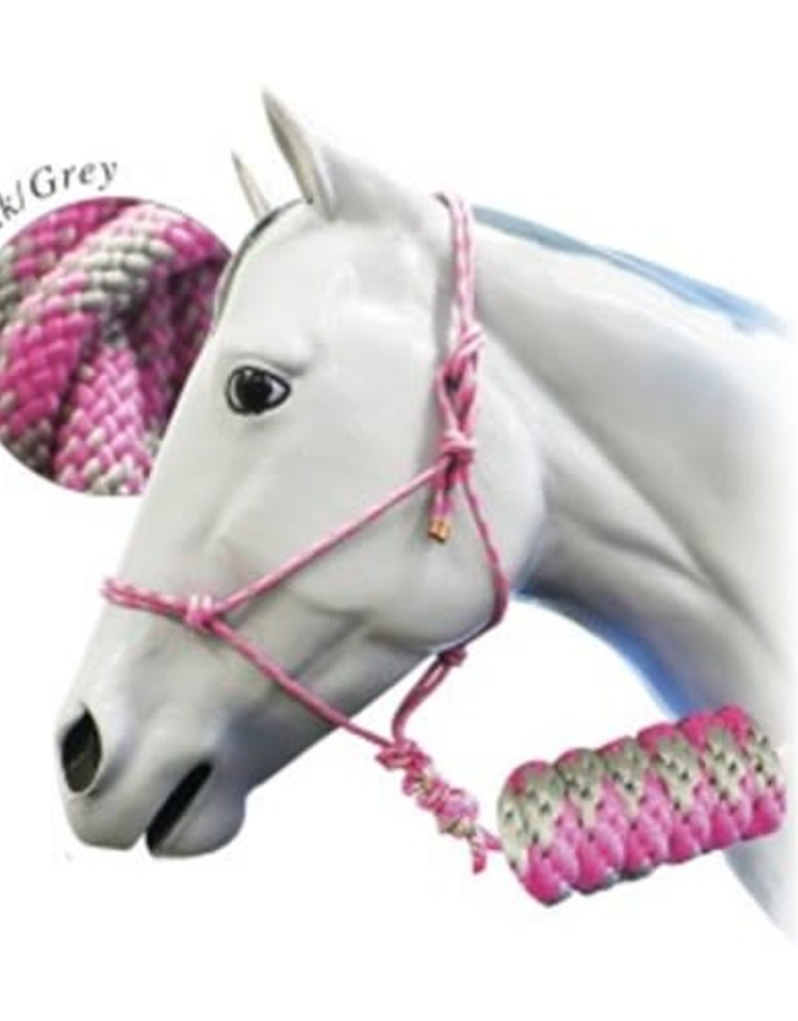 Fort Worth Rope Halter with 10' Lead - Pink/Grey