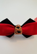Show Bow - Red on Black with Gold Horse in Stirrup