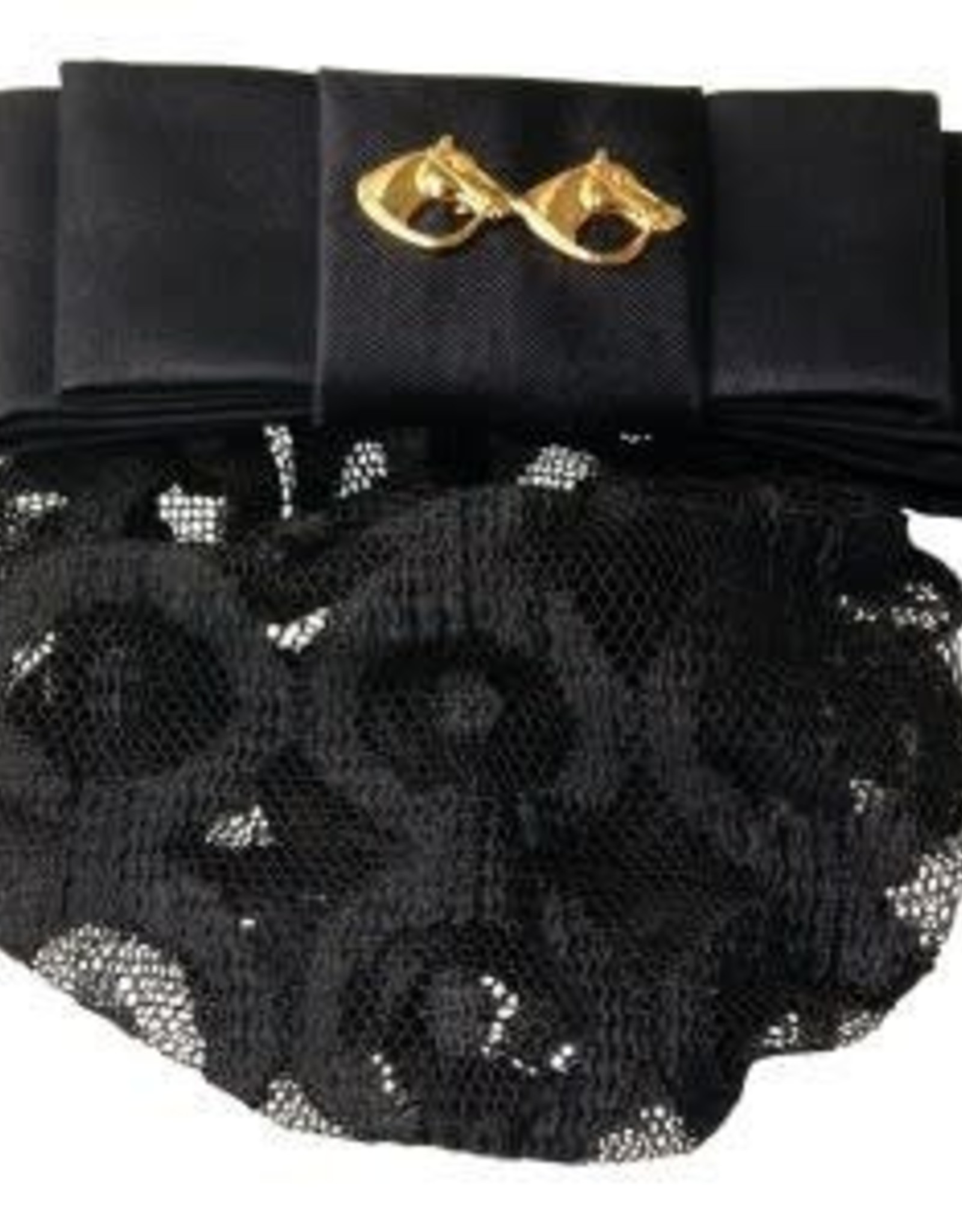Hawthorne Show Bow Barrette - Black Satin with Gold Horseheads