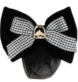 Hawthorne Show Bow - Black Velvet with Check Ribbon - Gold Horsehead in Stirrup