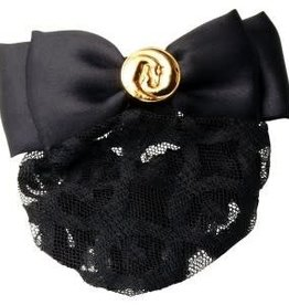 Hawthorne Show Bow - Black Satin with Gold Horseheads