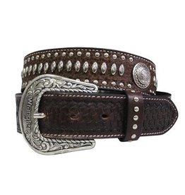 Wrangler Wrangler Tex Studded Men's Belt Choc/Silver Size 36