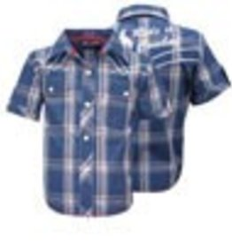 Wrangler Wrangler Boy's Callum Check Blue White Shirt Size 10