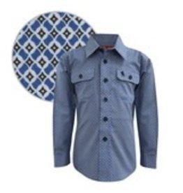 Thomas Cook Thomas Cook Boys Hillier Print 2 Pocket Shirt Blue/Black Size 12