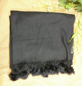 Scarf 100% Cashmere with Pom Black