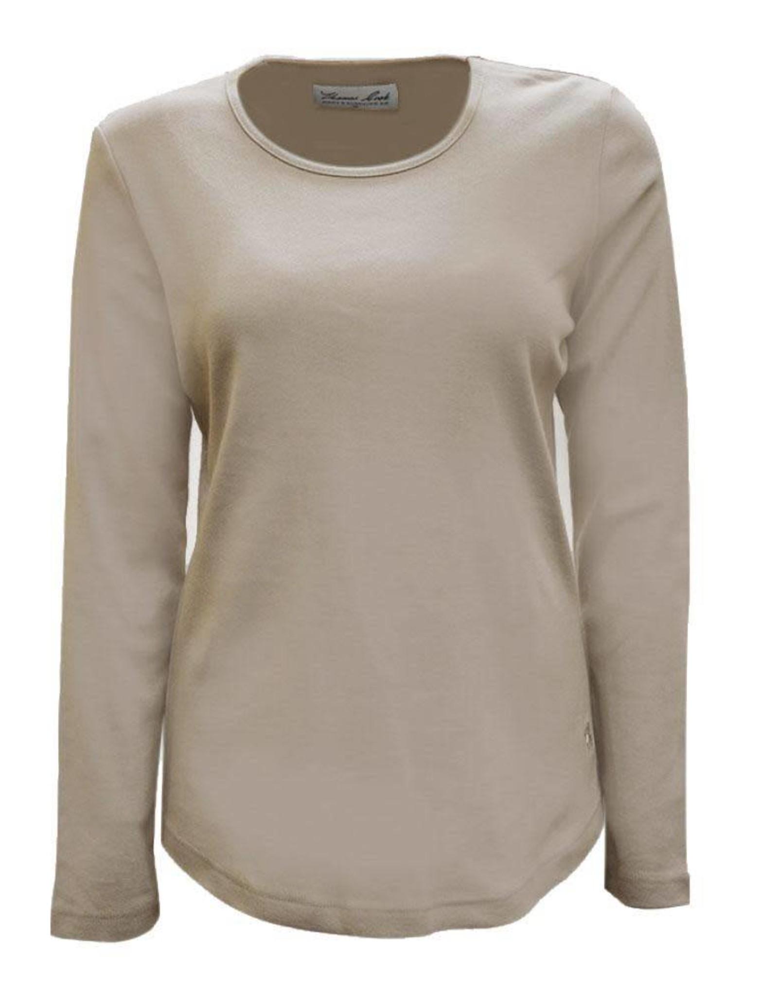 Thomas Cook Thomas Cook Womens Curved Hem Long Sleeve  Shirt -  Pebble - Size 10
