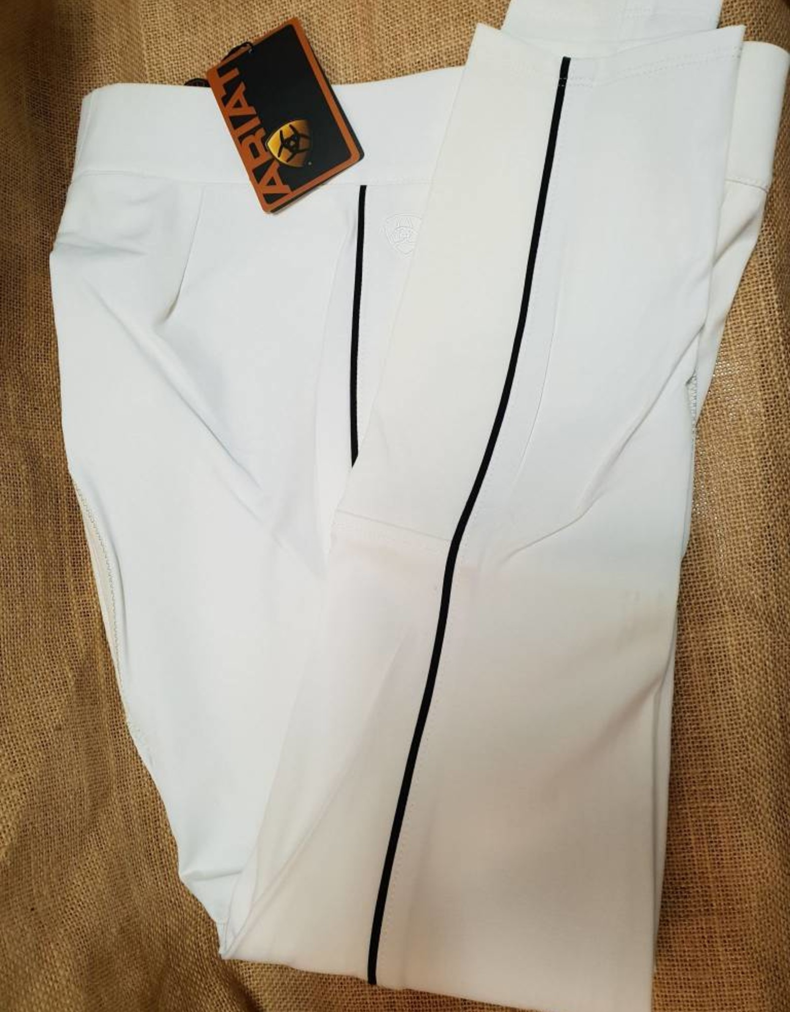 Ariat Ariat All Circuit Full Seat Breeches - White with Navy Piping - Size 30R