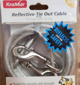 Kra-Mar Reflective Tie out Cable 6m for Dogs under 38.5kg
