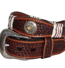 """Brigalow Brown Belt with Gold Horse Bull Rider Emblems 34"""""""