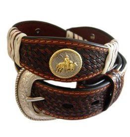 """Brigalow Brown Belt with Gold Horse Rider Emblems 38""""8"""