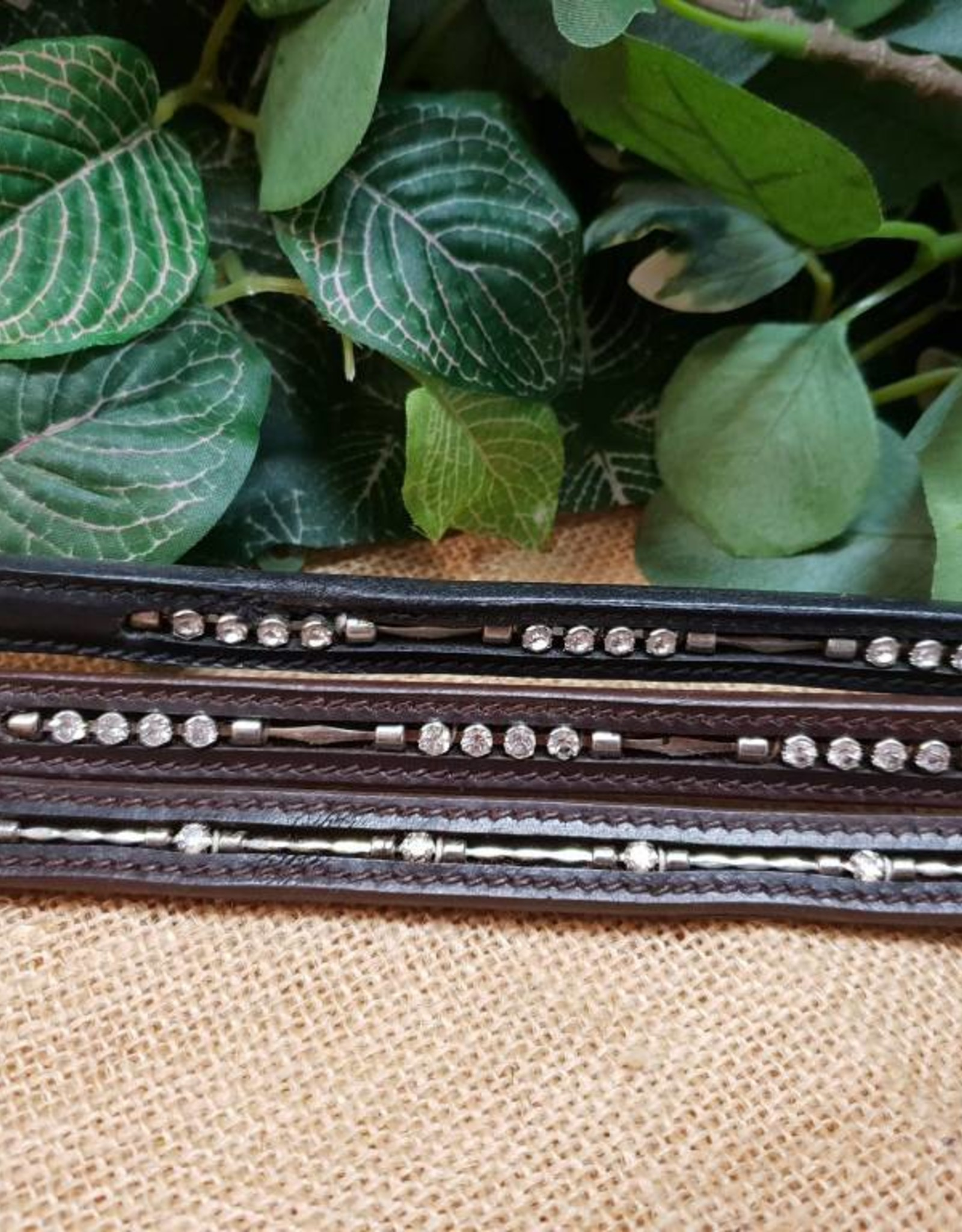 Norfolk Leather Browband - Four Diamond Chain - Brown - Full