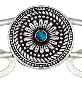 Montana Silversmiths 3Cncho Antique Cuff with Turquoise Rounds BC1394TQ