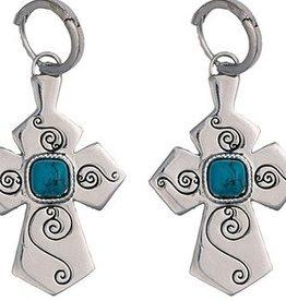 Montana Silversmiths Swirl Cross Earrings with Jade ER1357