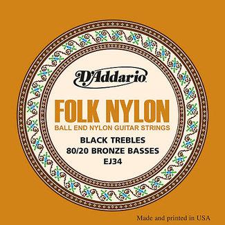 D'Addario D'Addario EJ34 Folk Nylon 80/20 Bronze/Black Nylon Strings - Ball End