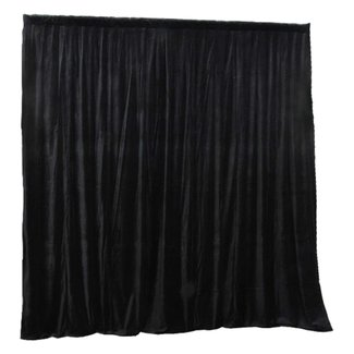 Focus9 Black Velour Stage Curtain With Eyelets - 16' Tall x 10' Wide