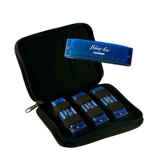 Hohner Hohner BIP Blue Ice Harmonica, 3-Pack with Zippered Carrying Case