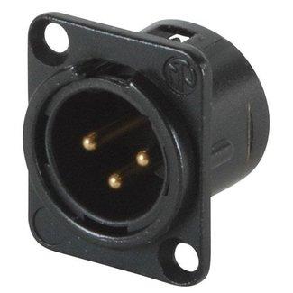 Neutrik Neutrik NC3MD-L-B-1 embase XLR mâle 3 contacts format D (noir et contacts or)