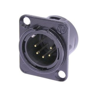 Neutrik Neutrik NC5MD-L-B-1 5-Pin D-Size Male XLR Panel Mount Connector - Black