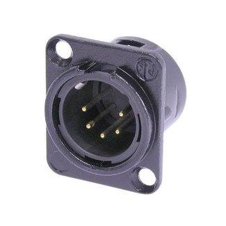 Neutrik Neutrik NC5MD-L-B-1 embase XLR mâle 5 contacts format D (noir et contacts or)