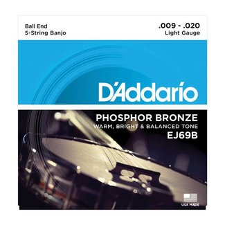 D'Addario D'Addario EJ69B ensemble 5 cordes phosphore bronze pour Banjo