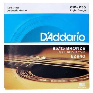 D'Addario D'Addario EZ940 ensemble de cordes pour guitare acoustique 12 cordes 10-50