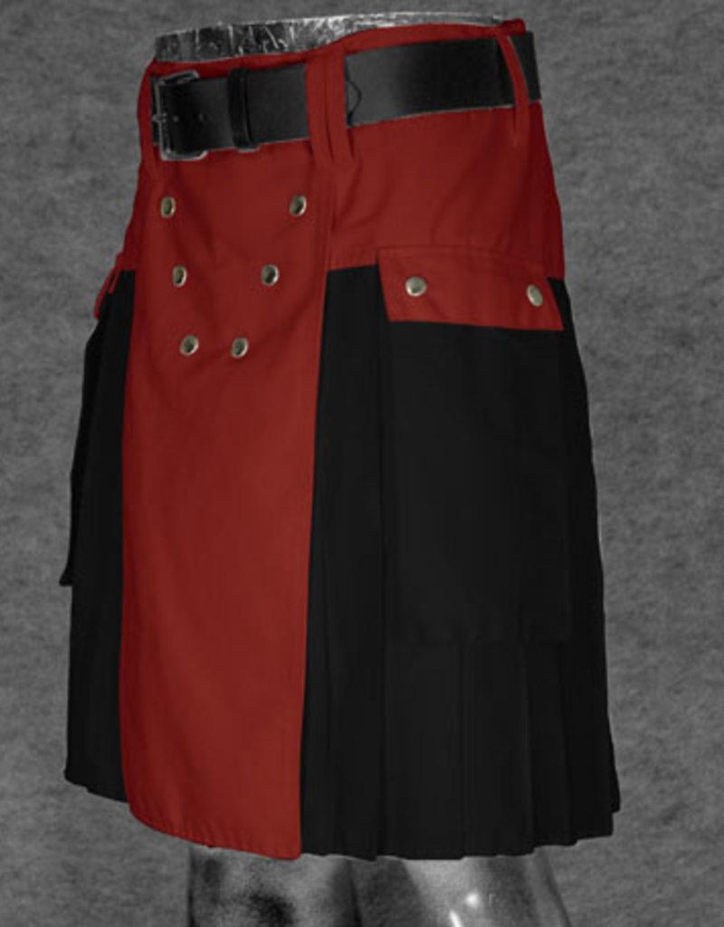 "The Spartan Utilikilt- TT, bright 30  (31"" - 34.5"") Red (A)/Black (P) 21.5"" (5'2"" - 5'9"")"