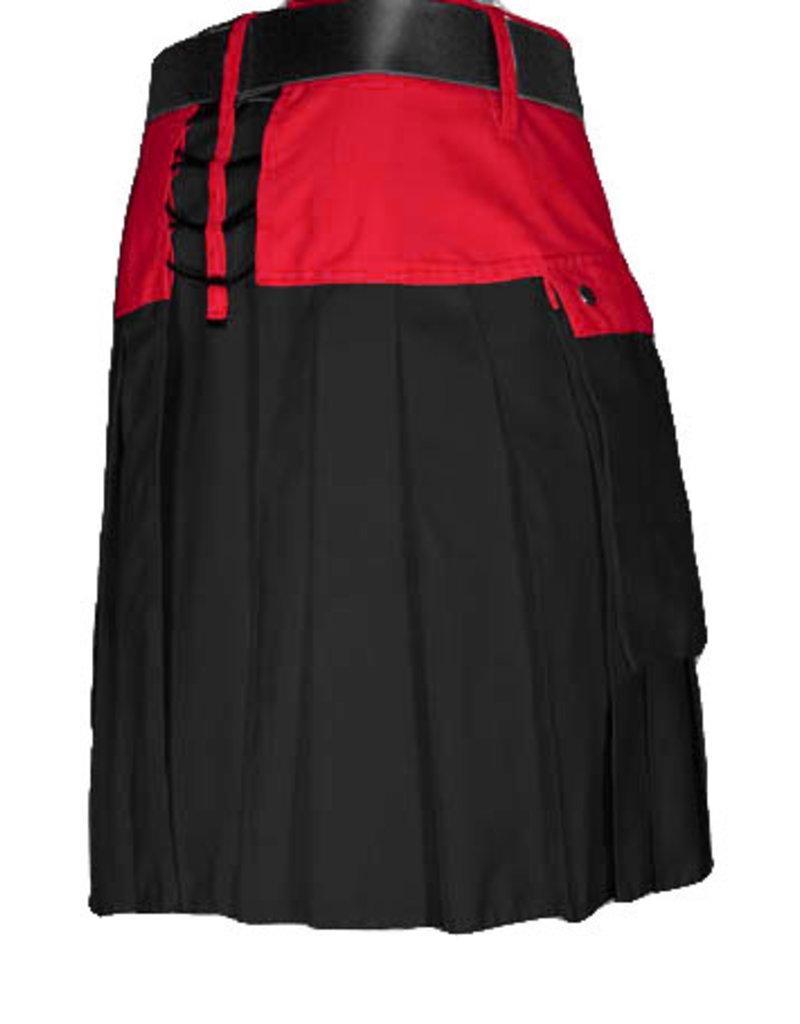 "The Spartan Utilikilt- TT, bright 30  (31"" - 34.5"") Red (A)/Black (P) 23"" (5'10"" - 6'3"")"