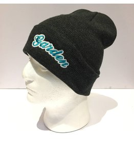 GARDEN GARDEN EMBOIDERED BUBBLE BEANIE CHARCOAL/TEAL