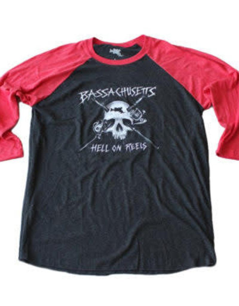 BASSACHUSETTS BASSACHUSETTS HELL ON REELS RAGLAN BASEBALL SHIRT