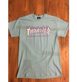 THRASHER THRASHER FLAME TEE LIGHT BLUE